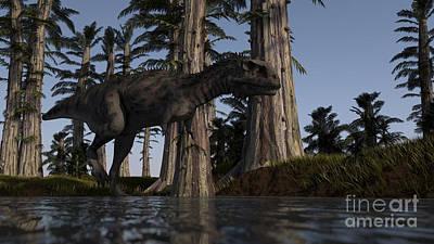 Majungasaurus Hunting For Food Print by Kostyantyn Ivanyshen