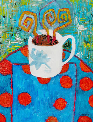 Table Cloth Painting - Coffee  By Janelle Dey by Janelle Dey
