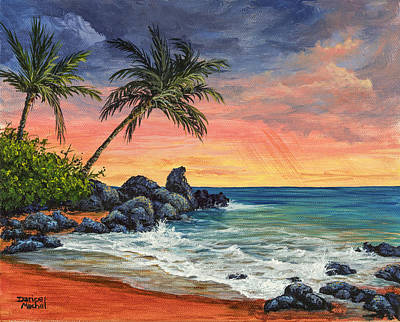 Famous Acrylic Landscape Painting - Makena Beach Sunset by Darice Machel McGuire
