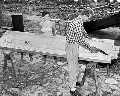 Woodworking Print featuring the photograph Making A Surfboard by Underwood Archives