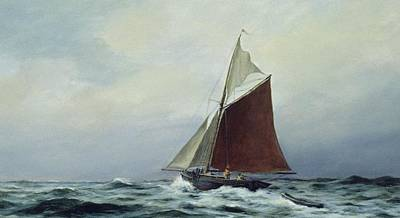Windy Painting - Making Sail After A Blow by Vic Trevett