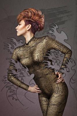 Female Body Digital Art - Making Waves by Samuel Whitton