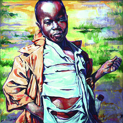Acylic Painting - Malawi Child by Derrick Higgins