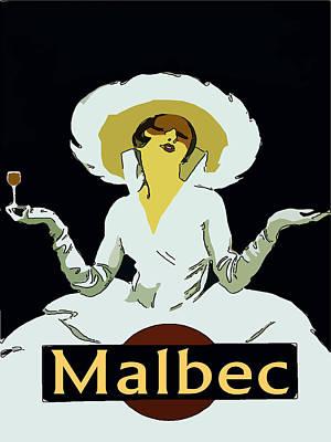 Malbec Vintage Wine Lady Print by Fig Street Studio