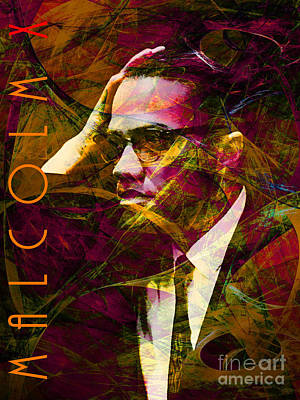Malcolm X 20140105 With Text Print by Wingsdomain Art and Photography