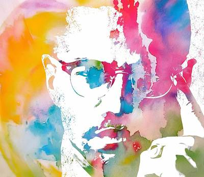Black History Mixed Media - Malcolm X Watercolor by Dan Sproul