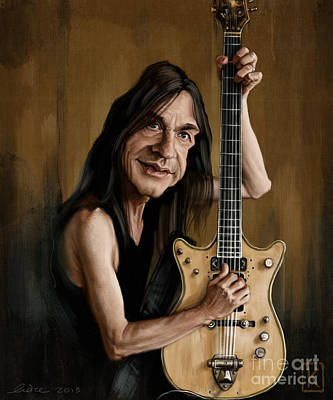 Caricature Drawing - Malcolm Young by Andre Koekemoer