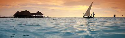 Maldivian Dhoni Sunset Print by Sean Davey