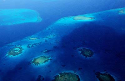 Maldivian Reefs. Aerial Journey Over Maldivian Archipelago Print by Jenny Rainbow