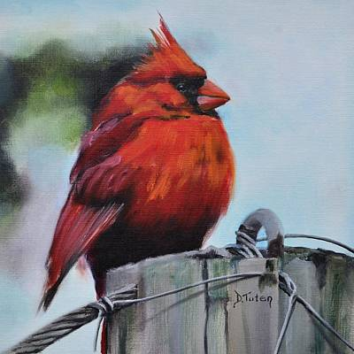 Animal Painting - Male Cardinal On Post by Donna Tuten