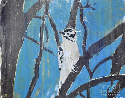Woodpecker Mixed Media - Male Downy Woodpecker Monoprint by Verana Stark