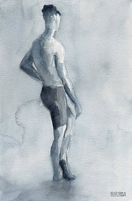 Male Figure Watercolor Painting Black And White Print by Beverly Brown Prints