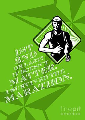 Male Marathon Runner Retro Poster Print by Aloysius Patrimonio
