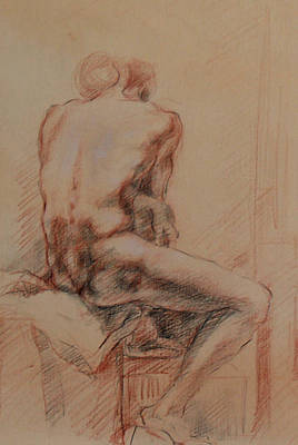 Male Nude 1 Print by Becky Kim