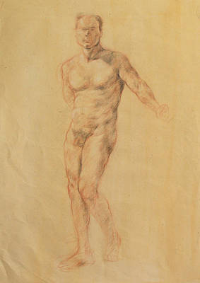 Becky Kim Artist Drawing - Male Nude 2 by Becky Kim