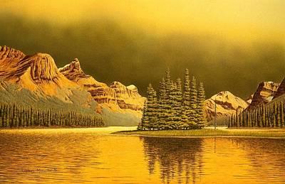 Maligne Lake Print by Conrad Mieschke
