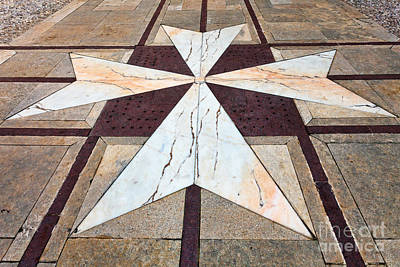 Maltese Photograph - Maltese Croos The Yard Of Palazzo Vilhena Mdina by Frank Bach