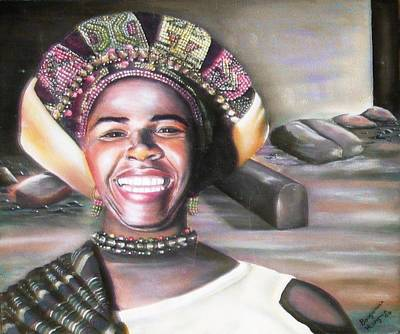 Lino Painting - Mama Africa by Bongumusa  Hlongwa