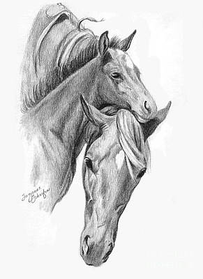 Mama And Baby Horse Print by Suzanne Schaefer