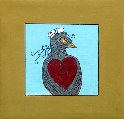 Yellow Beak Painting - Mama Bird by Genevieve Esson