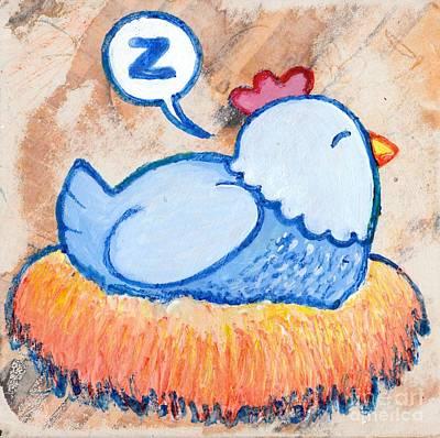 Mama Hen On Nest Print by Lucas T Antoniak