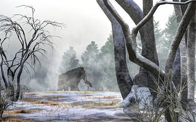 Ice Age Digital Art - Mammoth In The Distance by Daniel Eskridge