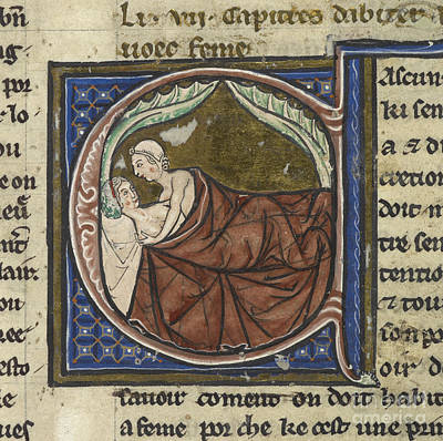 Man And A Woman In Bed Print by British Library