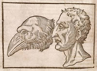 Man And Crow's Head Print by Middle Temple Library
