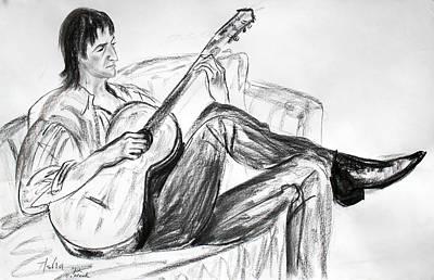 Man And Guitar Print by Asha Carolyn Young