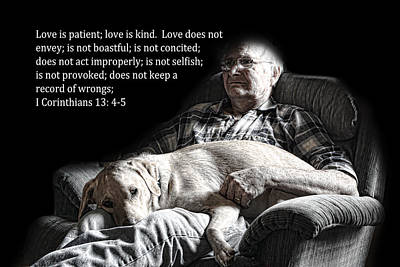 Bible Verse Photograph - Man And His Dog At Rest 1cor.13v4-5 by Linda Phelps