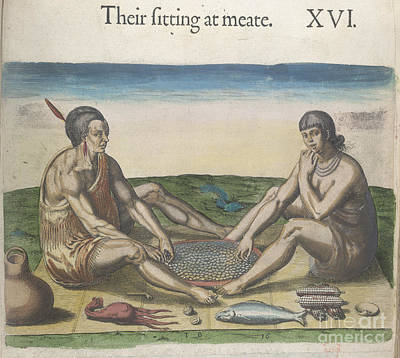 Theodor De Bry Photograph - Man And Woman Eating by British Library