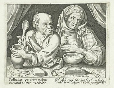 Porridge Drawing - Man And Woman Eating Porridge, Nicolaes De Bruyn by Nicolaes De Bruyn And Pieter Goos