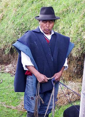 Poncho Digital Art - Man At Otavalo Animal Market Ecuador by Kurt Van Wagner
