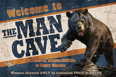 Man Cave Painting - Man Cave Balck Bear by JQ Licensing