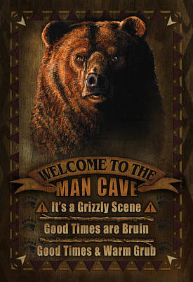Pheasant Painting - Man Cave Grizzly by JQ Licensing