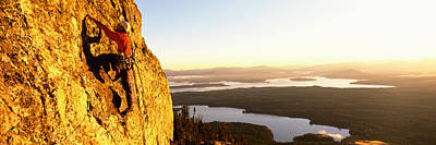 Getting Away From It All Photograph - Man Climbing Up A Mountain, Rockchuck by Panoramic Images