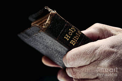 Christian Sacred Photograph - Man Hands Holding Old Bible by Olivier Le Queinec