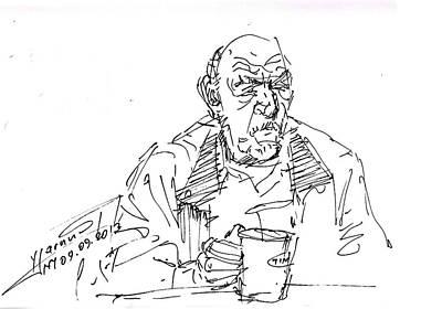 Sketch Drawing - Man Having Coffee by Ylli Haruni