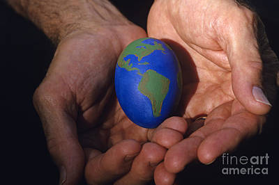 Self Discovery Photograph - Man Holding Earth Egg by Jim Corwin