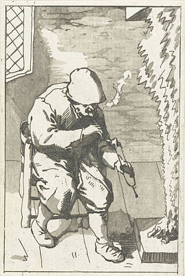 Bo Drawing - Man Holds His Pipe, Anthonie Van Den Bos by Artokoloro