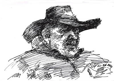 Homeless Drawing - Man In A Cowboy Hat by Ylli Haruni