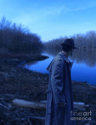 Man In Fedora By River Print by Jill Battaglia