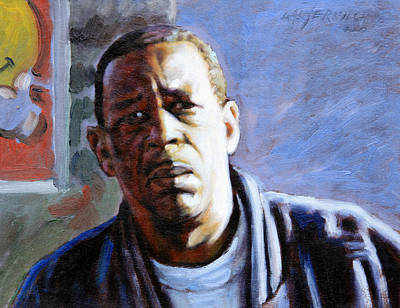 African-american Painting - Man In Morning Sunlight by John Lautermilch