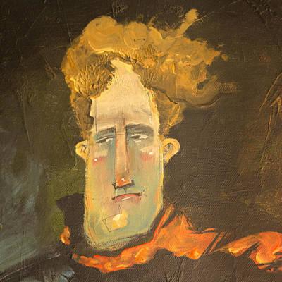 Apprehension Painting - Man In Orange Scarf... Detail by Tim Nyberg