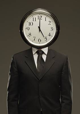 Man In Suit With Clock Face Print by Darren Greenwood