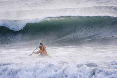 Man Kayak Surfing In Winter Surf Print by Scott Dickerson