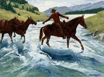 Pack Horses Crossing River Print by Don  Langeneckert