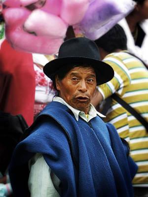 Poncho Digital Art - Man Of Cotacachi Ecuador by Kurt Van Wagner
