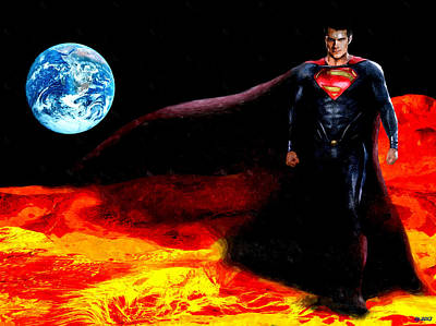 Outer Space Painting - Man Of Steel by Daniel Janda