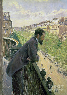 Looking Down Painting - Man On A Balcony by Gustave Caillebotte